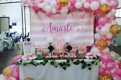 pink white organic arch